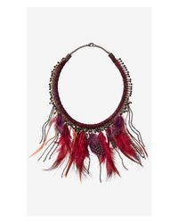 Express - Red Burgundy Thread Wrapped Feather Fringe Necklace - Lyst