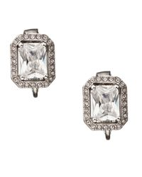 Carolee | Metallic Crystal Rectangular Button Earrings | Lyst