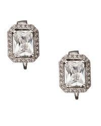 Carolee   Metallic Crystal Rectangular Button Earrings   Lyst