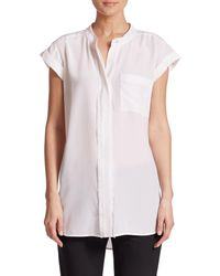 VINCE | White Frayed Silk Blouse | Lyst