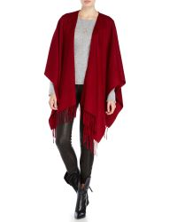 Portolano | Red Ruana Fringe Trim Wool Shawl | Lyst