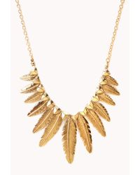 Forever 21 - Metallic Etched Feather Necklace - Lyst