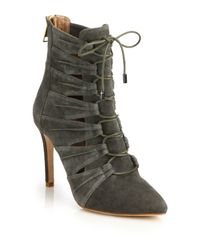 Joie | Gray Jelka Leather Lace-up Booties | Lyst