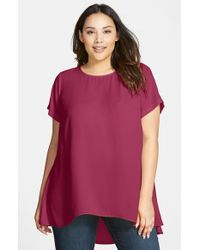 Vince Camuto - Red Short Sleeve High/Low Hem Blouse - Lyst