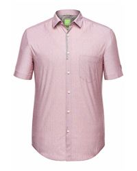 BOSS Green - Purple Regular-fit Short-sleeve Shirt: 'biasino' With A Fine Pattern for Men - Lyst