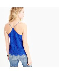 J.Crew | Blue Tall Carrie Cami In Floral Lace | Lyst