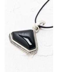 Urban Outfitters - Metallic Triangle Stone and Cord Necklace in Black - Lyst