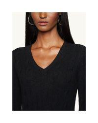 Ralph Lauren Black Label - Black Cabled Cashmere V-neck Sweater - Lyst