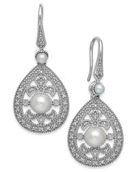 Macy's | Metallic Cultured Freshwater Pearl (2-1/2mm) And Diamond Accent Earrings In Sterling Silver | Lyst
