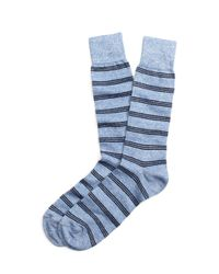 Brooks Brothers | Blue Heather Stripe Crew Socks for Men | Lyst