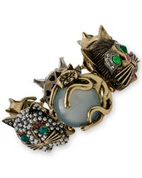 Betsey Johnson | Multicolor Gold-Tone Cat Stretch Bracelet | Lyst