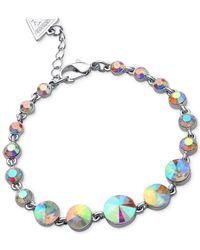Guess - Metallic Silver-Tone Graduated Majestic Stone Bracelet - Lyst