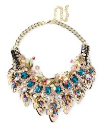 Night Market | Multicolor Golden Leaves Necklace | Lyst