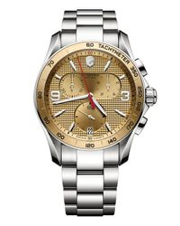 Victorinox | Metallic 'chrono Classic' Textured Dial Bracelet Watch for Men | Lyst