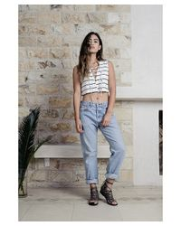 NYTT - White Striped Lace Up Crop Top - Lyst