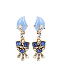 Oscar de la Renta | Blue Embellished Clip-on Earrings | Lyst