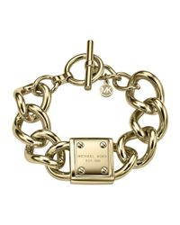 Michael Kors - Gray Logo-Plaque Link Bracelet - Lyst