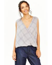 Silence + Noise - Gray Surplice Muscle Tank Top - Lyst