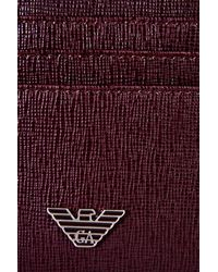 Emporio Armani - Purple Credit Card Holder In Saffiano Calfskin for Men - Lyst