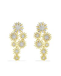 David Yurman | Metallic Diamond 18k Yellow Gold Starburst Cluster Drop Earrings | Lyst