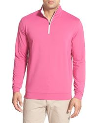 Peter Millar - Pink 'perth' Quarter Zip Terry Pullover for Men - Lyst