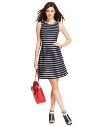 Tommy Hilfiger - Blue Pleated Striped A-Line Dress - Lyst