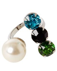 Joomi Lim - White Assorted Swarovski Crystal Open Ring - Lyst