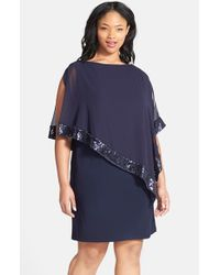 Xscape - Blue Sequin Trim Chiffon Overlay Jersey Sheath Dress - Lyst