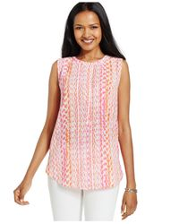 NYDJ - Pink Petite Printed Sleeveless Top - Lyst