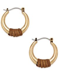 INC International Concepts | Metallic Gold-tone Brown Faux-suede Wrapped Hoop Earrings, Only At Macy's | Lyst