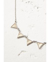 Forever 21 | Metallic Etched Triangle Charm Necklace | Lyst