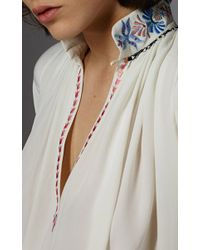 Vilshenko - White Daria Silk Embroidery Smocking Shirt - Lyst