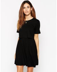 ASOS | Black Skater Dress With T-shirt Overlay | Lyst