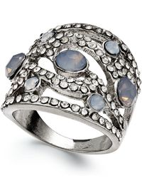 INC International Concepts | Metallic Silver-Tone Gray Crystal Wavy Stretch Ring | Lyst