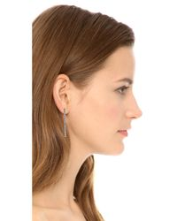 Rebecca Minkoff - Metallic V Hoop Earrings - Rhodium - Lyst