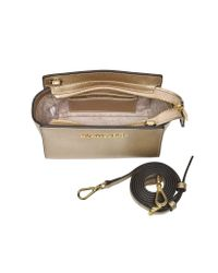 Michael Kors - Pale Gold Metallic Saffiano Leather Selma Mini Messenger Bag - Lyst