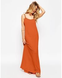 ASOS - Brown Maxi Dress With Daisy Straps - Lyst