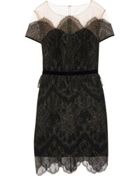 Notte by Marchesa - Black Embellished Tulle And Lace Mini Dress - Lyst