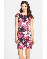 Eliza J - Pink Floral Print Faille Sheath Dress - Lyst