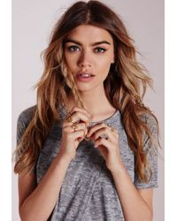 Missguided - Metallic Cut Out Stacking Rings 5 Pack - Lyst