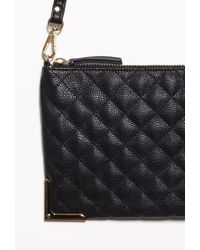 Forever 21 | Black Quilted Faux Leather Convertible Crossbody | Lyst