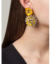 Shourouk | Yellow Flower Clip-on Earrings | Lyst
