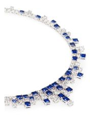 CZ by Kenneth Jay Lane - Blue 'egyptian Revival' Cubic Zirconia Fringe Necklace - Lyst