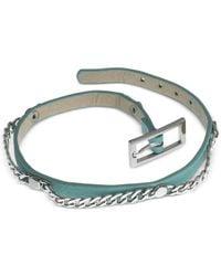 Guess | Metallic Silver-tone Mint Faux Leather Chain Wrap Bracelet | Lyst