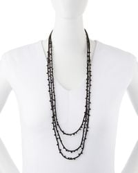Eileen Fisher - Black Beaded Silk Cord Necklace - Lyst