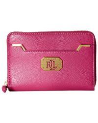 Lauren by Ralph Lauren | Pink Acadia Full Medium Zip Wallet | Lyst