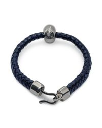 Alexander McQueen - Bright Blue Leather Skull Bracelet - Lyst