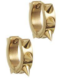 MFP MariaFrancescaPepe   Metallic Gold Tone Studded Hoop Earrings   Lyst