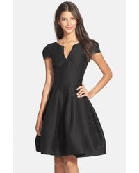 Halston | Black Cotton & Silk Fit & Flare Dress | Lyst