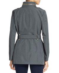 MICHAEL Michael Kors | Gray Mockneck Collar Fitted Coat | Lyst